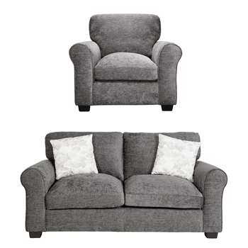 Argos Home Tammy Fabric Chair and 2 Seater Sofa - Charcoal (H85 x W96 x D91cm)