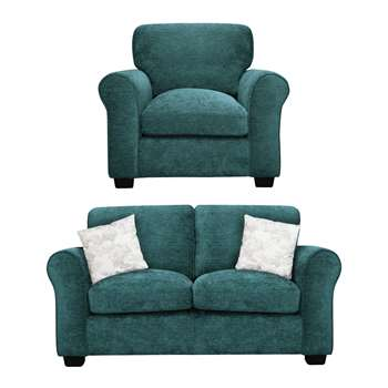 Argos Home Tammy Fabric Chair and 2 Seater Sofa - Teal