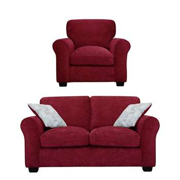 Argos Home Tammy Fabric Chair and 2 Seater Sofa - Wine