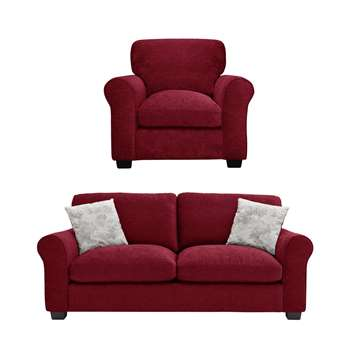Argos Home Tammy Fabric Chair and 3 Seater Sofa - Wine