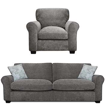Argos Home Tammy Fabric Chair and 4 Seater Sofa - Charcoal (H85 x W96 x D91cm)