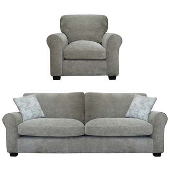 Argos Home Tammy Fabric Chair and 4 Seater Sofa - Mink