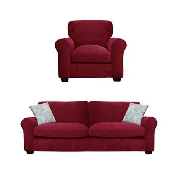 Argos Home Tammy Fabric Chair and 4 Seater Sofa - Wine