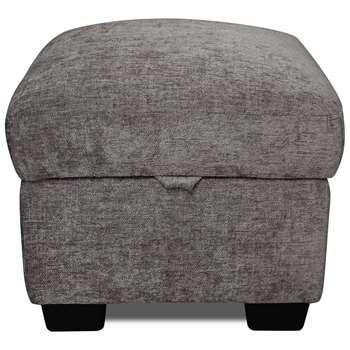 Argos Home Tammy Fabric Storage Footstool - Charcoal (H45 x W50 x D50cm)