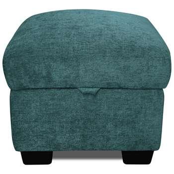 Argos Home Tammy Fabric Storage Footstool - Teal (H45 x W50 x D50cm)