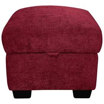 Argos Home Tammy Fabric Storage Footstool - Wine (H45 x W50 x D50cm)