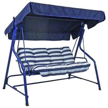 Argos Home Tubular 3 Seater Swing Hammock - Blue (H153 x W188 x D113cm)
