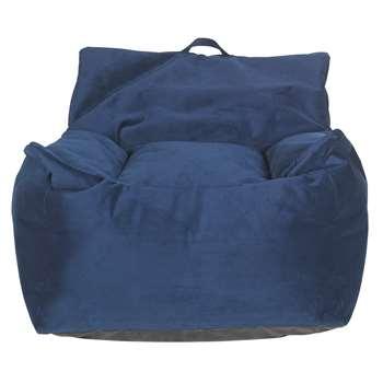 Argos Home Velvet Beanbag - Blue (H75 x W72 x D72cm)