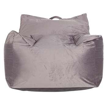 Argos Home Velvet Beanbag - Silver (H75 x W72 x D72cm)