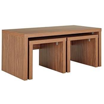 Argos Home Venice Nest of 3 Tables - Walnut Effect (H43 x W99 x D49cm)