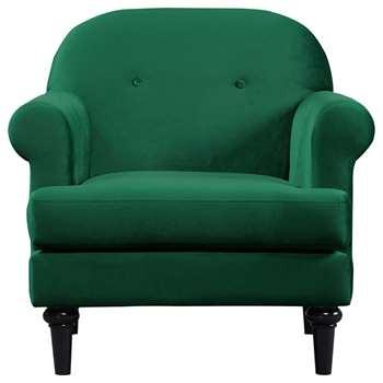Argos Home Whitney Velvet Armchair - Green (H87 x W86.5 x D81cm)