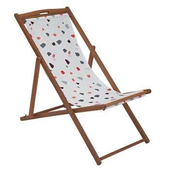 Argos Home Wooden Deck Chair - Terrazzo (H92 x W59 x D110cm)