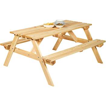 Argos - Natural Pine Picnic Bench (H71.5 x W148 x D130.5cm)