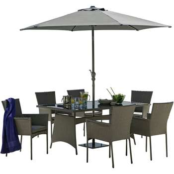 Argos - The Collection - Havana Rattan Effect Grey - 6 Seater Patio Set
