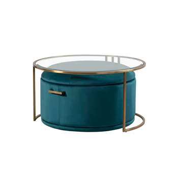 Aria Coffee Table and Storage Ottoman Peacock - Set (H45 x W85 x D85cm)