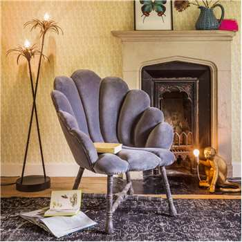 Ariel Grey Velvet Shell Chair (H88 x W78 x D80cm)