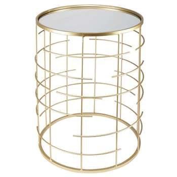 ARIF gold metal mirror side table (54 x 38cm)