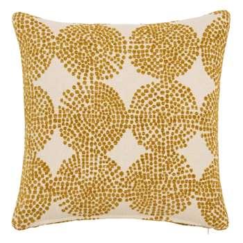 ARINNA Printed Mustard Yellow and White Cushion Cover (H40 x W40cm)