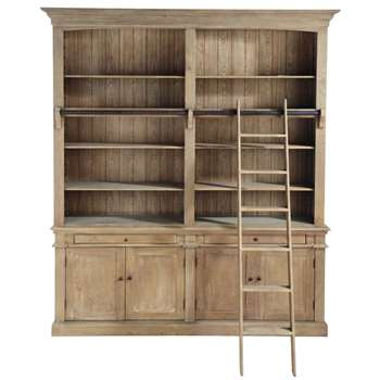 ARISTOTE Recycled wood bookcase with ladder (230 x 200cm)