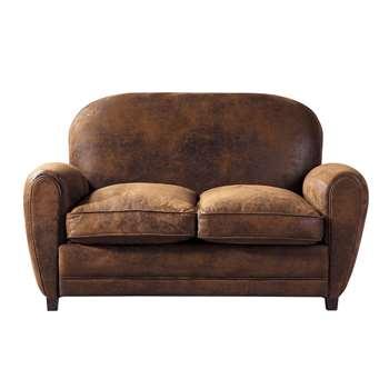 ARIZONA 2-Seater Microsuede Club Sofa in Brown (H84 x W142 x D92cm)