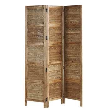 ARIZONA Engraved Mango Wood Screen (H171 x W120.5 x D2cm)