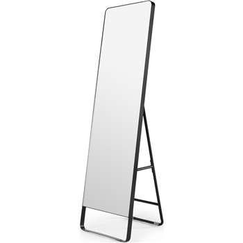 Arles Freestanding Mirror, Matte Black (H160 x W48 x D45cm)