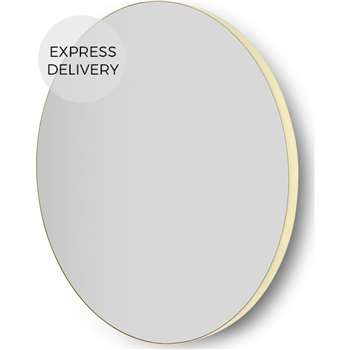 Arles Large Round Mirror, Brushed Brass (Diameter 85cm)