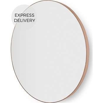 Arles Large Round Mirror, Brushed Rose Gold (Diameter 85cm)