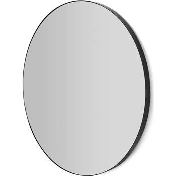 Arles Large Round Mirror, Matt Black (Diameter 85cm)