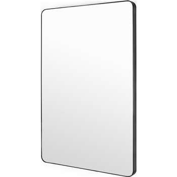 Arles Rectangular Wall Mirror, Matte Black (H90 x W60 x D4cm)