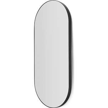 Arles Rounded Rectangular Wall Mirror, Matt Black (H96 x W43 x D4cm)