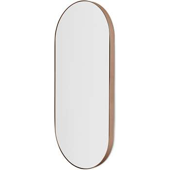 Arles Rounded Rectangular Wall Mirror, Brushed Rose Gold (H96 x W43 x D3.5cm)