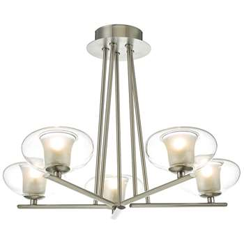 Arlo 5 Light Ceiling Light Satin Chrome (H34 x W45 x D45cm)