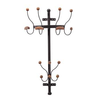 ARMAND rusted look metal wall-mounted coat stand