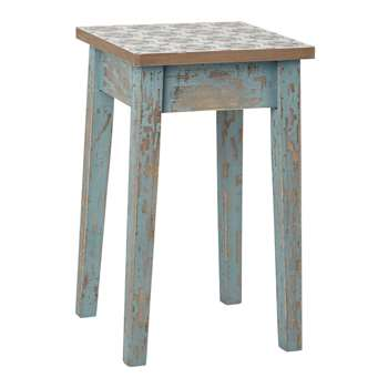 ARMELLE Wooden Stool in Blue Patina Finish (H48 x W29 x D29cm)