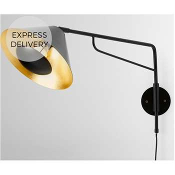 Arne Wall Lamp, Black & Gold Foil (H51 x W61 x D24cm)