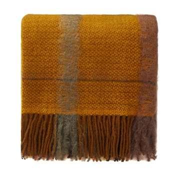 Arnedo Mohair Blanket, Mustard, Coral & Black (130 x 200cm)