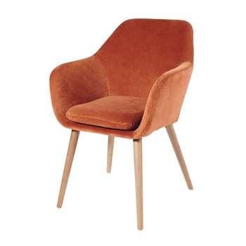 ARNOLD Orange Vintage Velvet Armchair Arnold (83 x 56cm)