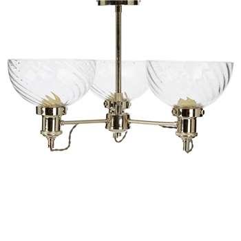 Arnos Ripple Nickel 3Light SemiFlush Ceiling Light (H52 x W50 x D50cm)