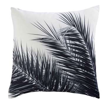 AROHA white and black palm tree print fabric cushion 45 x 45 cm