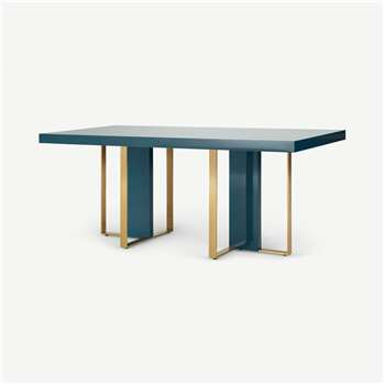 Arpen 6 Seat Dining Table, Teal and Brass (H76 x W180 x D90cm)