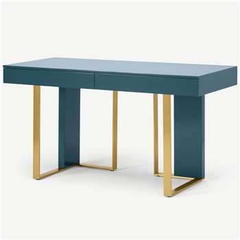 Arpen Desk, Teal and Brass (H76 x W140 x D60cm)
