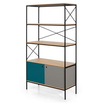 Arris Shelving Unit, Oak and Blue (H178 x W100 x D40cm)