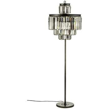Art Deco Iron & Crystal Floor Lamp (170 x 52cm)