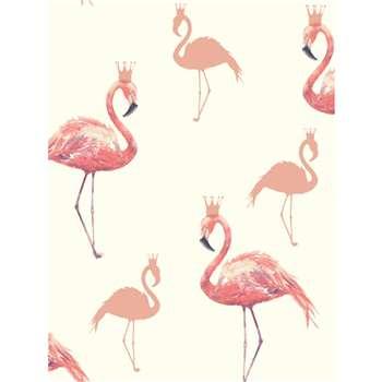 Arthouse Queen Flamingo Coral Wallpaper (1005 x 53cm)
