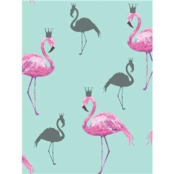Arthouse Queen Flamingo Pink & Teal Wallpaper (1005 x 53cm)