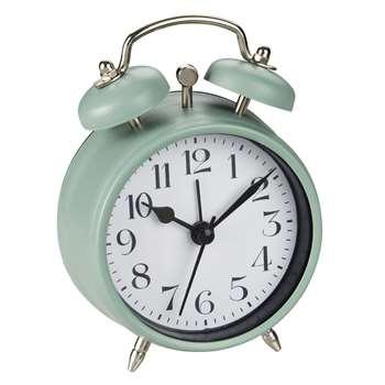 ARTHUR Green Metal Vintage-Style Alarm Clock (12 x 8cm)