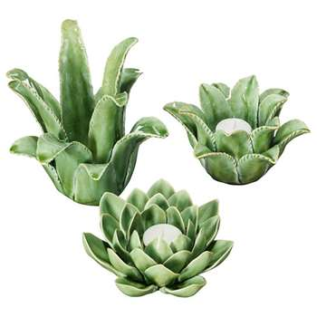 Artichoke and Desert Plant Candle Holders, Set of Three - Green (H18 x W18 x D17cm)