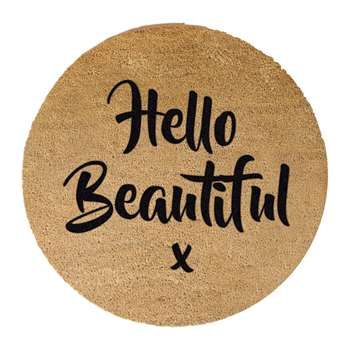Artsy Doormats - Hello Beautiful Door Mat - Round (70 x 70cm)