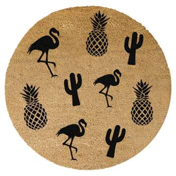Artsy Doormats - Pineapple, Flamingo & Cactus Door Mat - Round (Diameter 70cm)